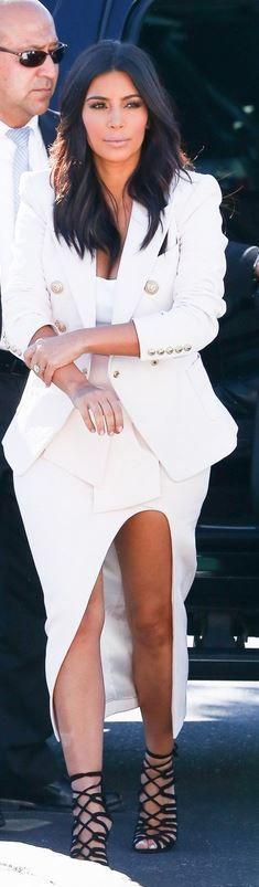 Kim Kardashian: Jacket – Balmain  skirt – Maticevski  Shirt – Alaia  Shoes – Hermes