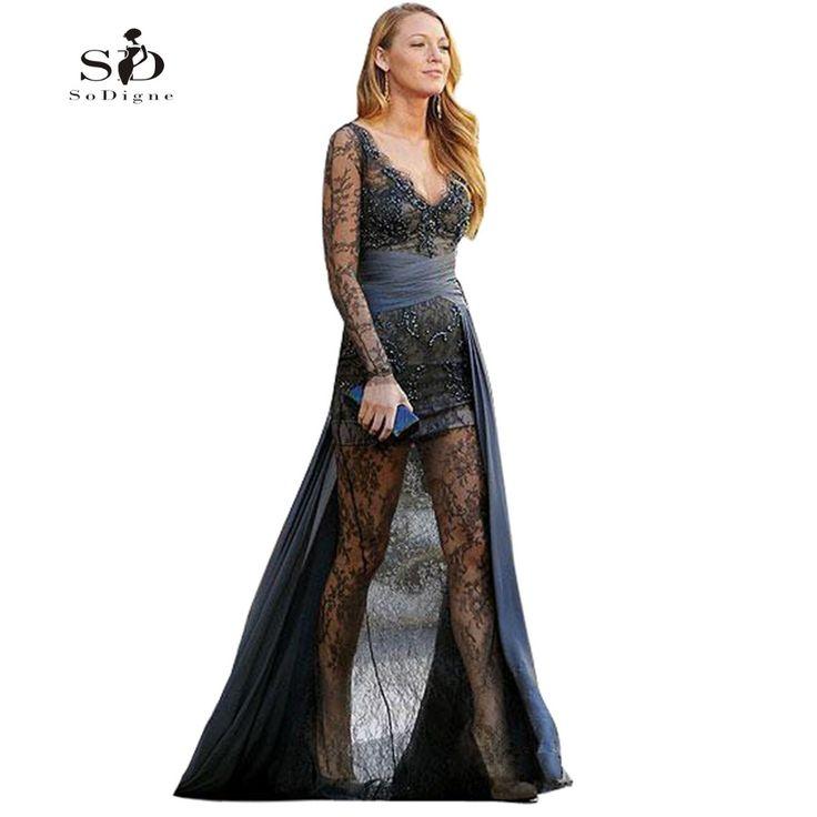 Prom Dress 2017 SoDigne Celebrity Dress Gossip Girl Blake Grey Lively Long Sleeve Lace Beaded Sheer Long Sleeve Evening Gowns