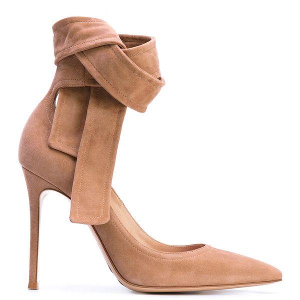 Gianvito Rossi Lane pumps ($805) via Polyvore featuring shoes, pumps, ankle tie pumps, stiletto pumps, leather pointed toe pumps, pointy toe pumps and leather slip on shoes