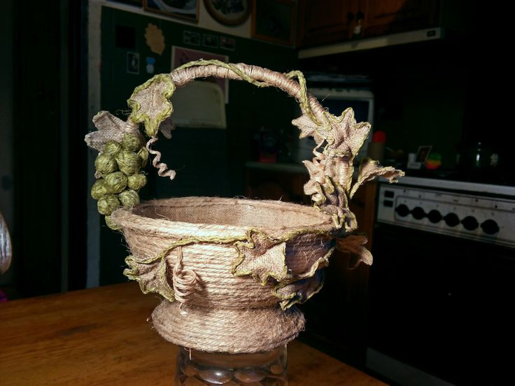 Little basket made of twine and burlap.