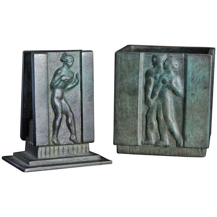 Very Fine Pair of Art Deco Bronze Desk Accessories, Swedish | From a unique collection of antique and modern desk accessories at http://www.1stdibs.com/furniture/more-furniture-collectibles/desk-accessories/