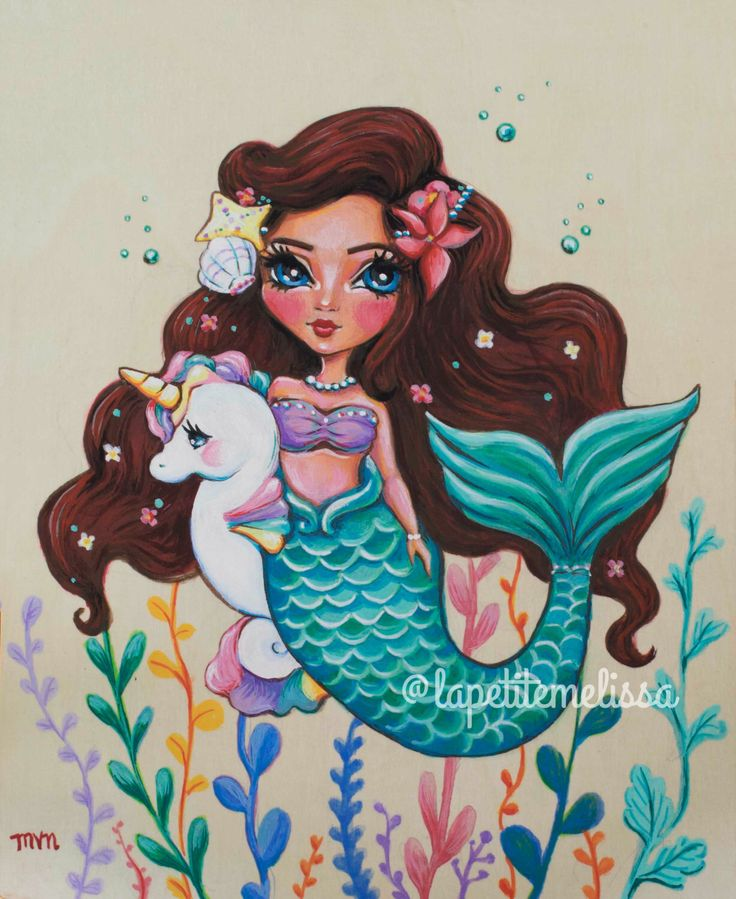 Enchantment Under the Sea Mermaid and Unicorn art print illustration-whimsical magical fantasy art 8x10 by Melissa Victoria Nebrida by LaPetiteMelissa on Etsy https://www.etsy.com/listing/492175753/enchantment-under-the-sea-mermaid-and