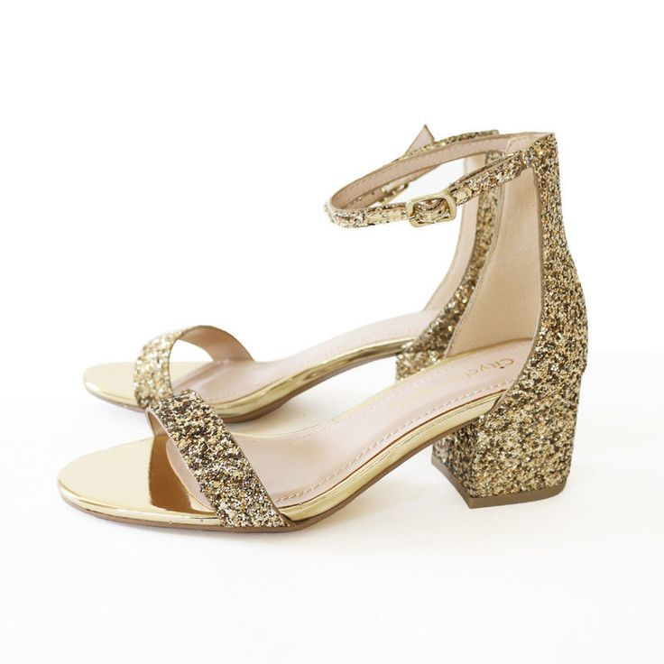 Perfect 4 Special Day Glitter Ankle Strap Sandal Block Heel Gold Wedding Party #TrendyOak #AnkleStrappy #SpecialOccasion