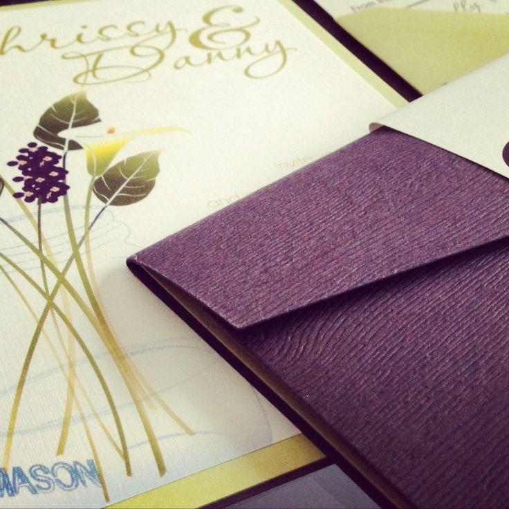 Purple Wedding Invitation with wood grain envelope