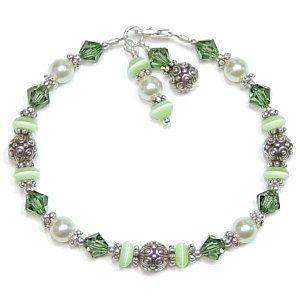 Beading | Green Turmaline Bicones Light Green Donuts Cream Pearls Antique Silver ...