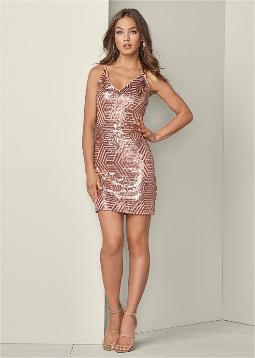f29669c8 Plunging v-neck party dress in 2019 | SMOOTH KNEECAPS | Gold party dress,  Rose gold party dress, Dresses