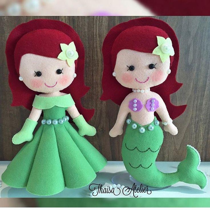 Ariel pequena sereia de feltro  WhatsApp (88) 99942-3115  Thaisa Atelier