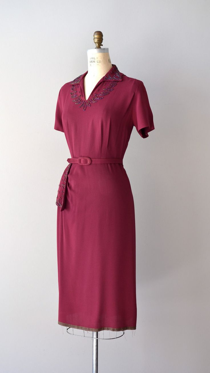 1940s deep berry rayon dress.