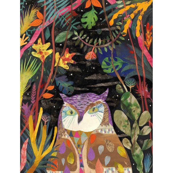 Owl art print Illustration art print An Owl in the by ChrisHagan