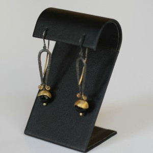 Gold and Silver Earrings with a Onyx | Earrings | Loft Living Ltd