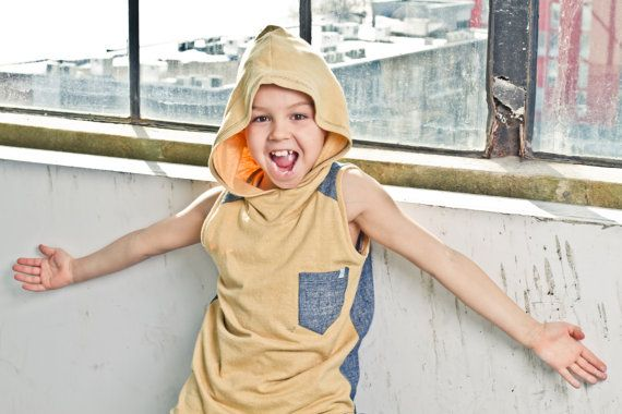 Hemp & organic cotton hoodie tank top for boys