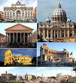 Az óramutató járásával fentről:a Trevi-kút, a Szent Péter-bazilika, a Viktor Emanuel-emlékmű, a Forum Romanum, a Colosseum és a Pantheon