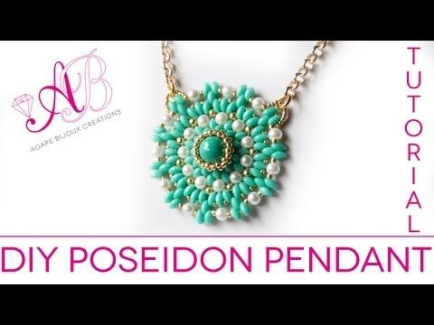 DIY TUTORIAL Poseidon Pendant - Pendant with twin beads, pearls and seed beads waxed starlight