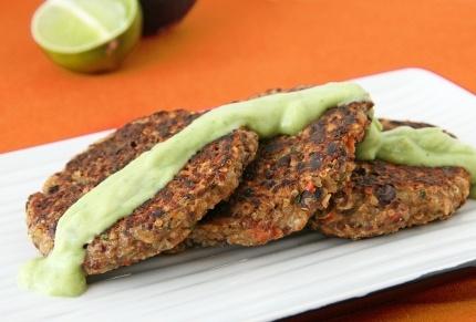 southwest quinoa patties with avocado sauce