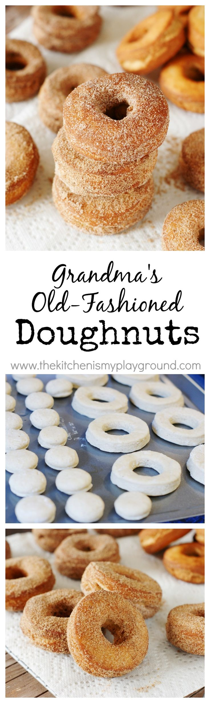 Grandmas Old-Fashioned Doughnuts ~ Serve up these cakey beauties plain or coated all around in cinnamon sugar.   www.thekitchenismyplayground.com