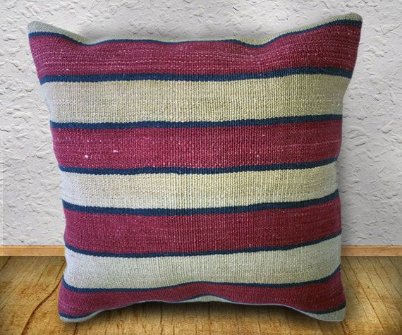60 Years old Konya Colorful Striped Kilim Pillow Cover, Unique Flat Woven Pillow Cover, 15.7 inch or 40cm square, rug pillow, organic pillow