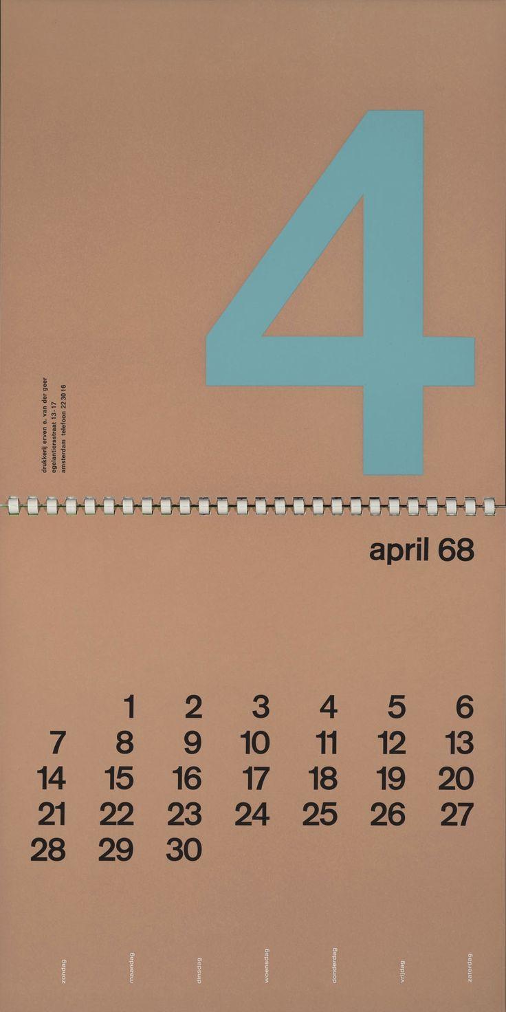 Erven E. van de Geer Kalender 1968, Calendar, Peter Struycken, 1967
