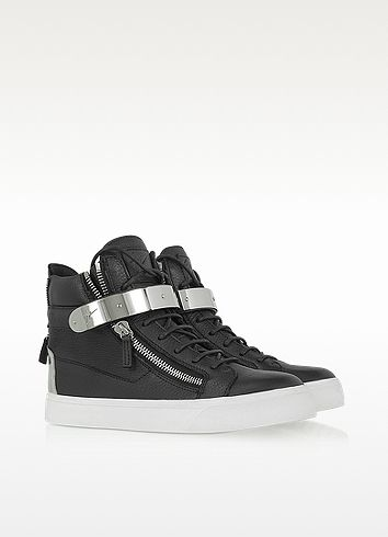 Black Leather Sneaker w/ Metal Strap