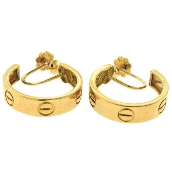 Pre-owned Cartier Love 18k Yellow Gold Small Hoop Earrings (£1,810) ❤ liked on Polyvore featuring jewelry, earrings, pre owned jewelry, 18 karat gold earrings, 18k yellow gold earrings, cartier jewelry and gold jewelry