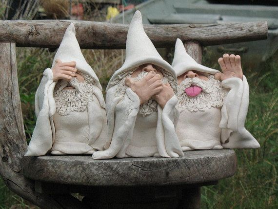 """*Ceramic Sculptures """"See No Evil Wizard""""  by Don White"""