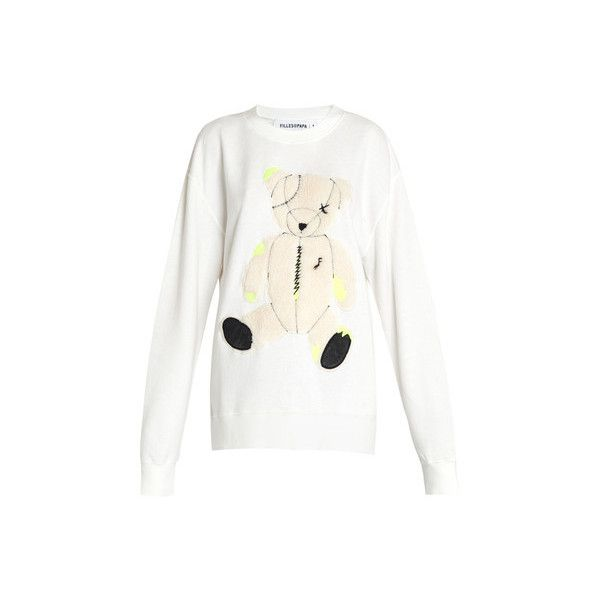 Filles A Papa Teddy-Bear Sweatshirt ($195) ❤ liked on Polyvore featuring tops, hoodies, sweatshirts, white, slouchy tops, embroidered sweatshirts, embroidered top, long sleeve slouchy top and white sweatshirt
