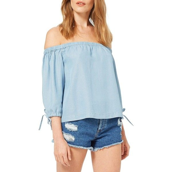 Miss Selfridge Three-Quarter-Sleeve Soft Denim Bardot Top (2,525 DOP) ❤ liked on Polyvore featuring tops, blue, blue off shoulder top, blue top, off the shoulder tops, 3/4 length sleeve tops and three quarter sleeve tops