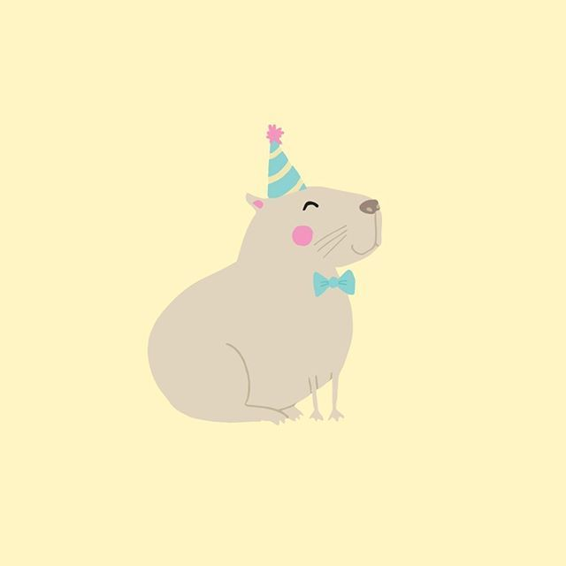 Because who doesn't want to see a capybara in a party hat and a bow-tie? How has your day been? My instagram is being a pain in the ass and is pixellating a lot of the images I upload :( Is anyone else experiencing this? ••••••••••••••••• #capybara #capy #cute #capybirthday #happybirthday #illustrator #illustration #illustrationoftheday #doodle #dailydoodle #stationery #yellow #handdrawn #etsyseller #etsyseller #etsyshop #enamelpin #pingame #lapelpin #birthday #partyhat