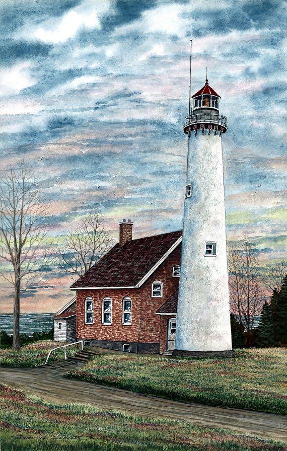 Tawas Point Lighthouse 10.5 x 16.5 Hand Signed Limited Edition Famous Award Winning Artist Steven W. Schultz Watercolor Landscape Art Print