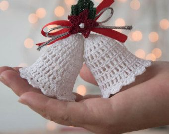 Items similar to Crochet Christmas ornament, crochet Cristmas tree, Christmas decoration, tree decoration, set of 3 crochet Cristmas ornaments,handmade decor on Etsy