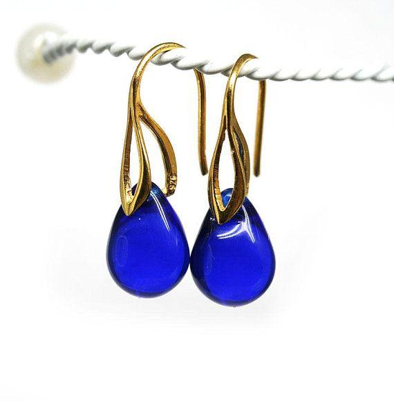 Gold Blue Earrings Cobalt Drop Minimalist Jewelry Golden Dark Teardrop Dangle By Mayahoney