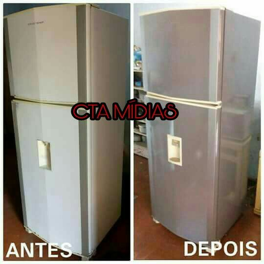 Envelopamento personalizado em geladeira duplex tipo inox!