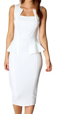 Get an utterly glam look with this bodycon peplum dress. With an unusual and flattering square neckline, peplum waist and midi length, this dress will definitely draw admiring glances as it brings sop