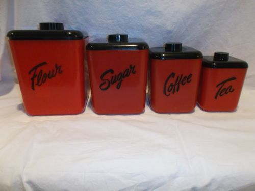 1950s Vintage RED BLACK COLS PLASTIC LUSTRO WARE KITCHEN CANISTERS SET  SCRIPT