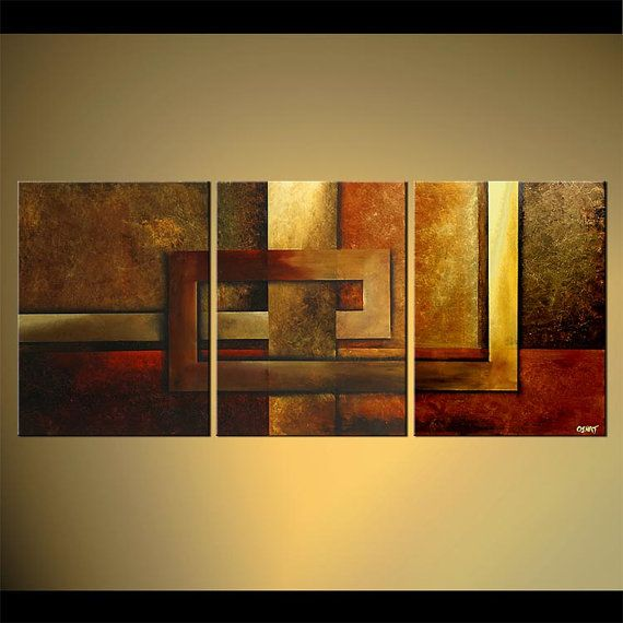 "Modern Abstract Painting Warm Tones Acrylic Painting 54"" x 24"" Original Ready To…"