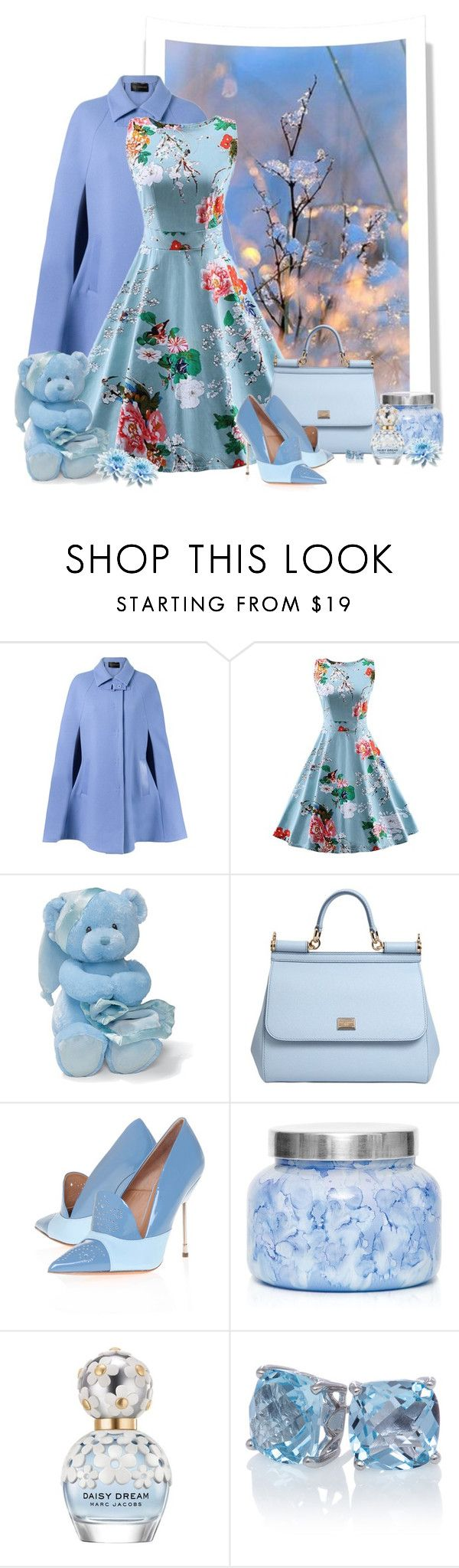 """Vestido floral  de US $ 19"" by sil-engler ❤ liked on Polyvore featuring Gund, Dolce&Gabbana, Kurt Geiger, Capri Blue and Marc Jacobs"