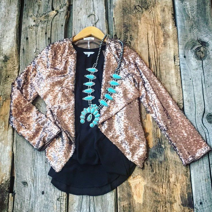 "Blush Out West (@blushoutwest) on Instagram: ""How about a sequin blazer for the holidays? we LOVE this look paired with our Granddaddy Squash…"""