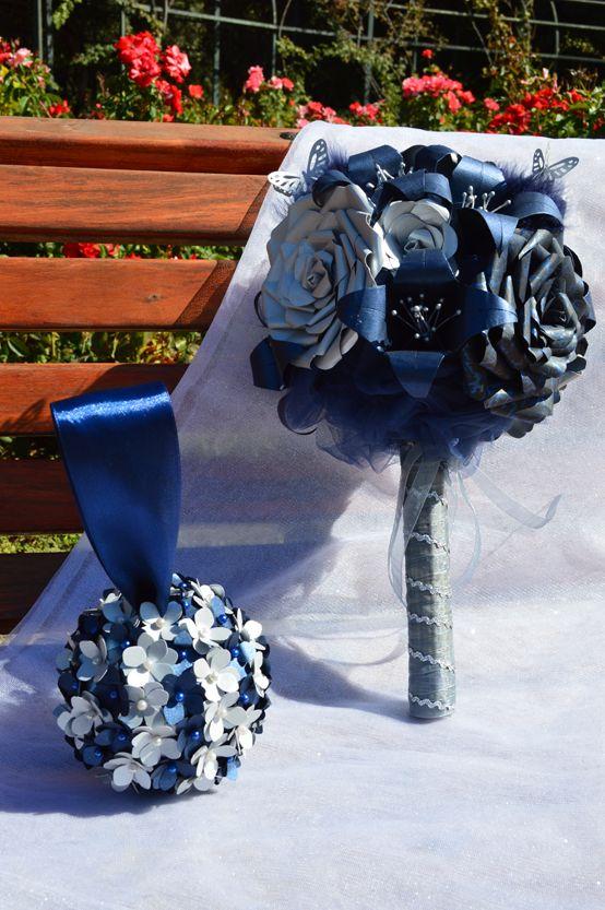 Ramo de novia Blue Glam + mini ramo colgante para solteras
