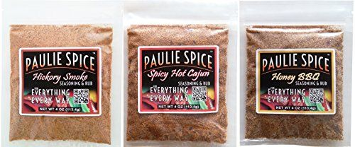 Paulie Spice  BBQ Seasoning and Rub Set  Hickory Smoke  Sweet Honey BBQ  Spicy Hot Cajun for Ribs Chicken Meat Steak Pork Beef Fish Dry Rub Spices Grill Grilling Barbecue Seasonings *** Be sure to check out this awesome product.
