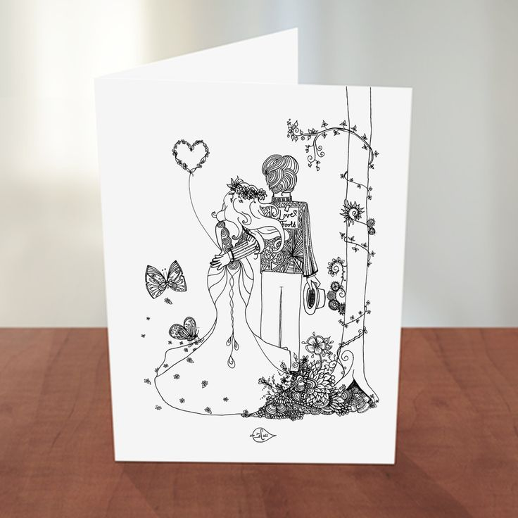 Card, Greetingcard, Kort, wedding, håndtegnet, doodle, print, plakater, posters, print-selv, illustration, illustrations, bryllup.