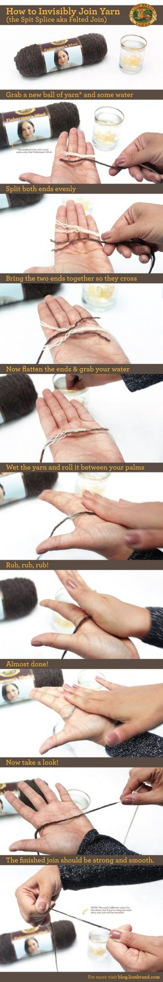 How to invisible join your yarn! Featured 20 More Incredible Yarn Hacks To Make Your Next Project Easier! http://www.hearthandmade.co.uk/yarn-hacks-2/?utm_campaign=coschedule&utm_source=pinterest&utm_medium=Heart%20Handmade%20UK&utm_content=20%20More%20Incredible%20Yarn%20Hacks%20To%20Make%20Your%20Next%20Project%20Easier%21