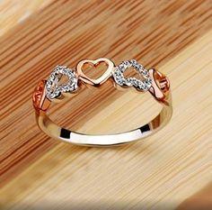 anel de couração cobre e prata