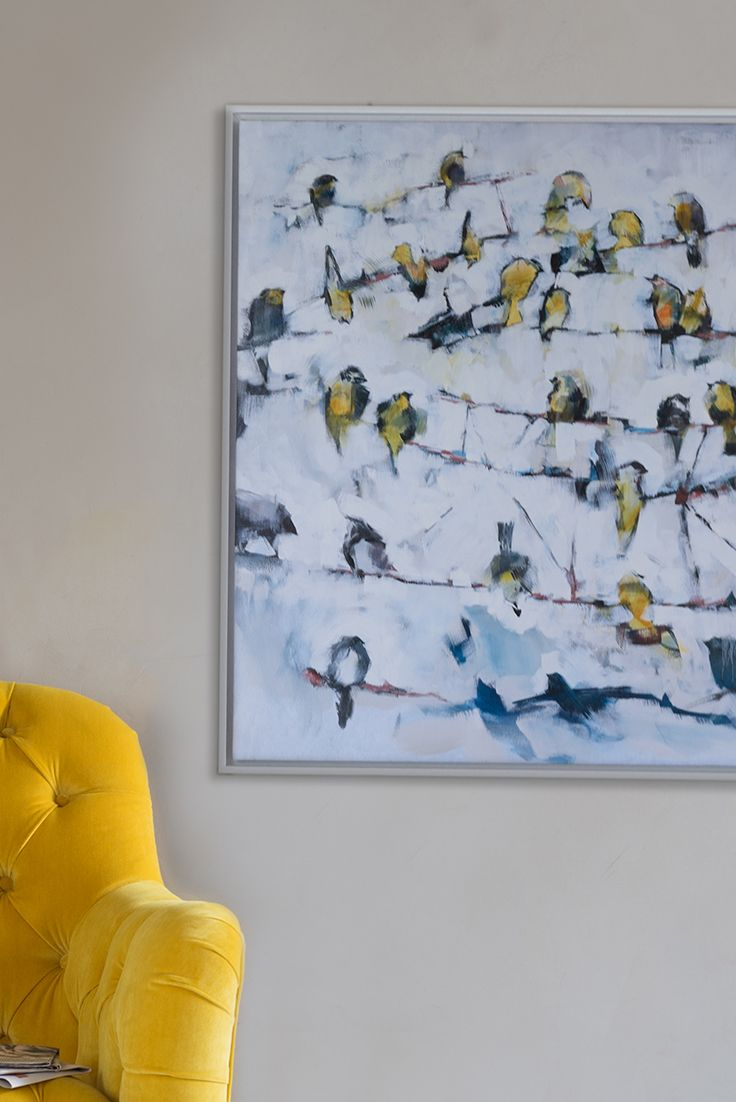 'Little Yellow Birds' Ben Lowe canvas print Canvas print, art, artwork, print, bird, birds, yellow, sunshine yellow, sofa, armchair, velvet, velvets, fabric, velvet fabric, birds on a wire, little yellow birds, colour, paint, painting, new paint, canvas, canvas print, affordable art, Ben Lowe, artist, painter