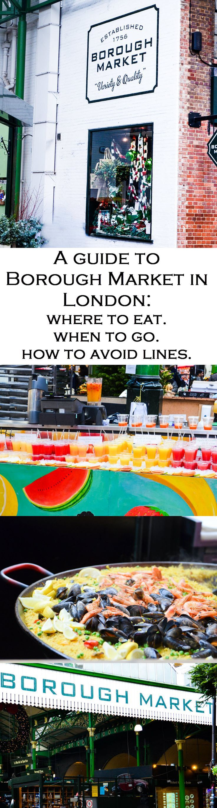 A complete guide to London's Borough Market. Where to get fresh produce, cheese, meat, and bread as well as where to eat lunch and how to avoid some lines!! A must visit in London, UK!