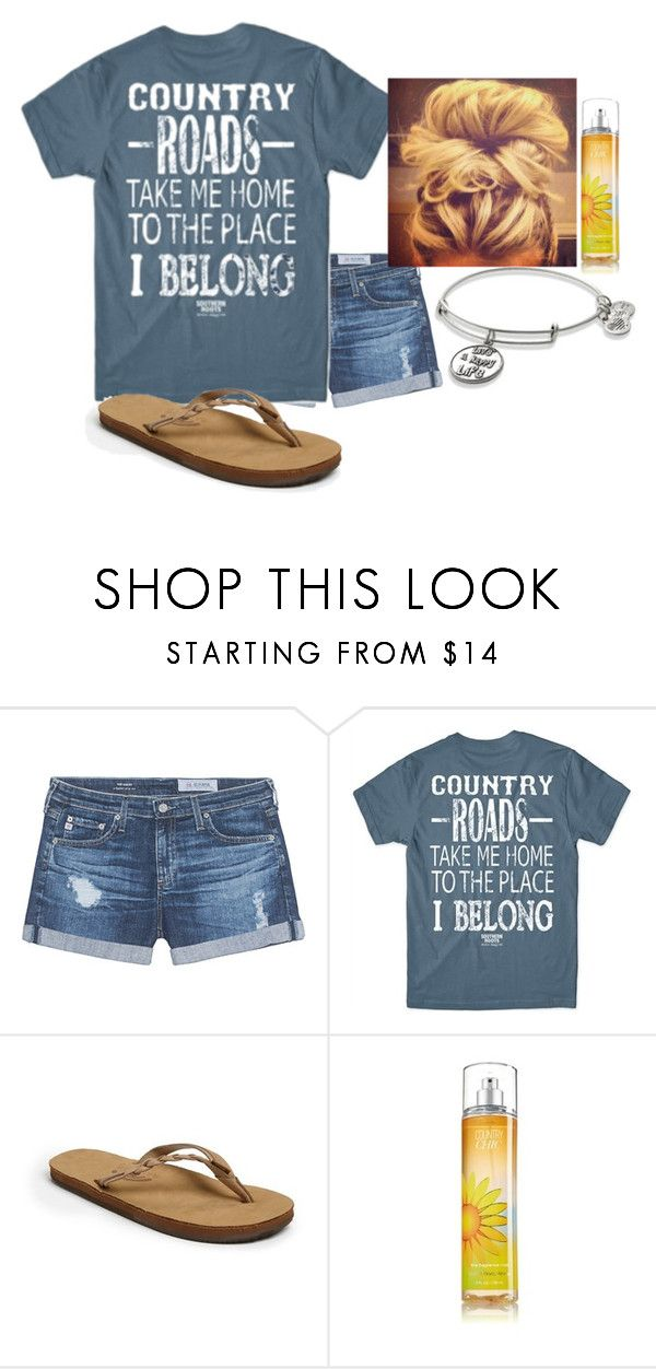 """Country Roads Take Me Home"" by southern-prep-374 ❤ liked on Polyvore featuring AG Adriano Goldschmied, Rainbow, Alex and Ani and country"