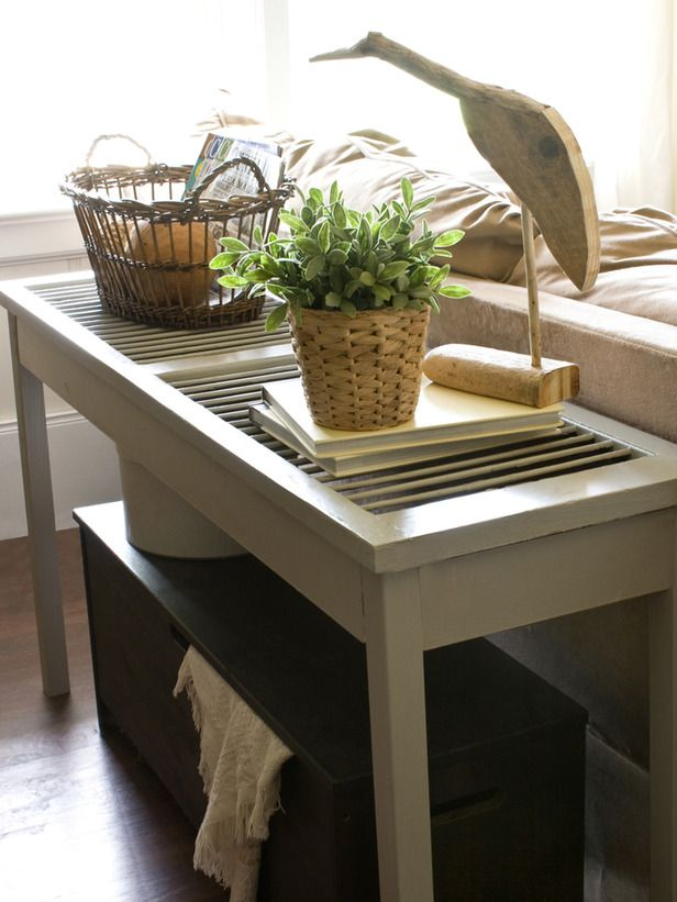 Use repurposed shutter for outdoor sofa table or console - rain runs through - not making puddles on the top. Dishfunctional Designs: Upcycled: New Ways With Old Window Shutters