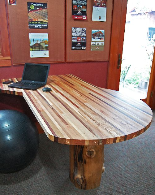 Multiple wood species come together as narrow strips to form this office  desk complete with a - 63 Best Reclaimed Office Images On Pinterest
