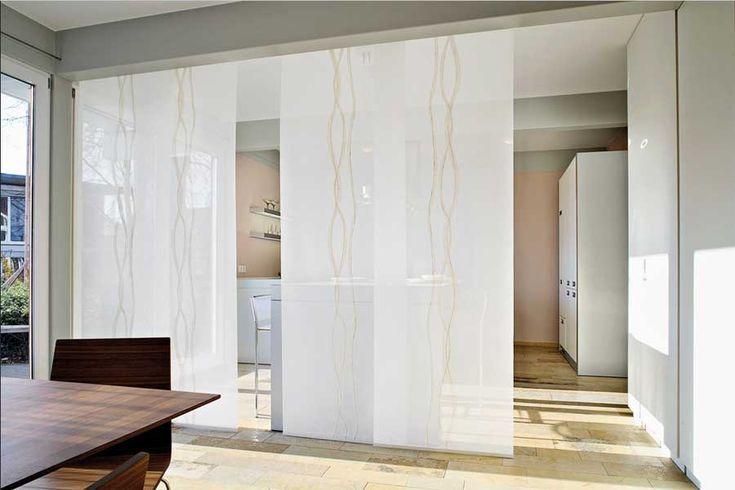 raumteiler vorhang weiß mit schiebegardinen flächenvorhänge für, Esszimmer dekoo
