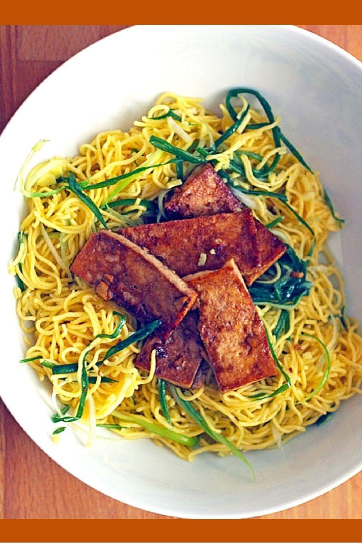 Ginger-Scallion Noodles with Tofu | Recipe | Tofu recipes, Tofu ...