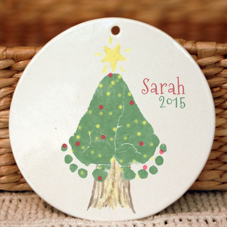Christmas Tree Footprint Ornament  302A_Orn_hand and footprint art, baby footprint keepsake, print kit, first christmas, grandma, grandpa by MyForeverPrints on Etsy https://www.etsy.com/listing/250241171/christmas-tree-footprint-ornament