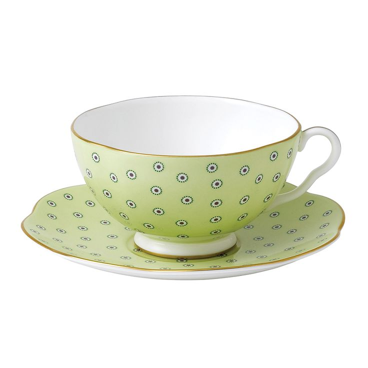 197 best images about tea cups n saucers on pinterest for Gold polka dot china